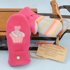 Kid's Sweater Mittens Hearts Pink Cashmere Embroidered Cupcakes Swarovski