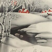 Vintage Early Mid Century Christmas Greeting Card Sleigh Ride Stream Birch Trees