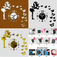 Sticker miroir papillon Horloge art mural amovible autocollant salon etc.