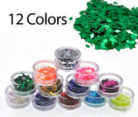 12 Pots Nail Art Glitter Body Festival Dust Powder Diamond Flakes Decoration Set