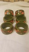 Fitz & Floyd Paper Mache Green with bird Napkin Rings Ff Japan Set of 6 Vintage