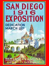 1916  San Diego Exposition Caifornia United States Travel Advertisement Poster
