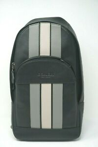 Coach Houston Black Leather Varsity Stripe Crossbody Pack F73344