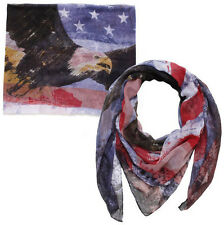 New David & Young Womens American Flag With American Bald Eagle Print Scarf