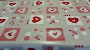 Red Hearts Chickens Patchwork Stone Mink PVC Plastic Vinyl Table Cloth Protector