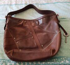 65b442f9e8 FOSSIL Brown Leather Suede Hobo Bucket Shoulder Bag Handbag Soft Boho EC B7