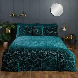 Green Duvet Covers Paloma Palm Leaf Jacquard Tropical Jungle Velvet Bedding Sets