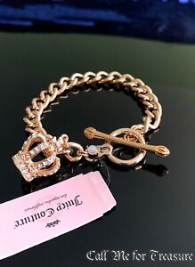 Juicy Couture rose gold Crown charm link chain bracelet NWT
