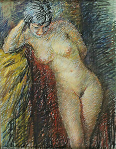 Ernst Haider 1890 - 1988 - Standing Nude One Boys Woman France Paris