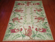 4' X 6' Needlepoint  Monkeys In Banana Grove Beautiful Carpet #52