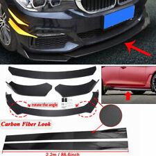 Front Bumper Lip Spillters +86.6'' Side Skirts For BMW 320i 325i 330i 335i 340i