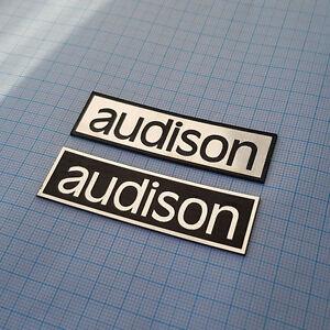 2 x Audison - METALIC Case Logo Sticker Badge - 2.75 inch/1 inch - 70mm / 23mm