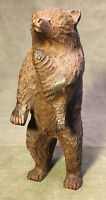 Canadian Folk Art Wood Carving Bear with Salmon By Clement Dube Unsigned