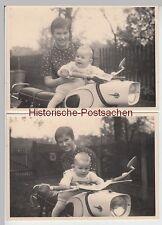 (F10779) 2x Orig. Foto Frau mit Kleinkind auf Motorrad MZ Trophy 1960/70er