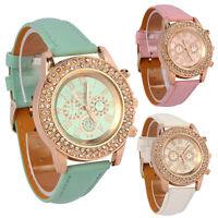 Vogue Women Watch Ladies Crystal Dial Analog Leather Bracelet Quartz Wrist Watch
