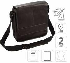 "10.1"" iPad Leather Flap-Over Messenger Shoulder Business Casual Bag Black FI6701"