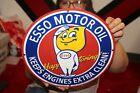 ESSO+Happy+Motoring+Motor+Oil+Gas+Station+Porcelain+Metal+Sign