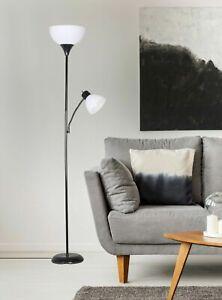 72'' Combo Floor Standing Lamp with Adjustable Reading Light Decor Black  NEW