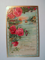 Postcard Birthday Greetings 1908 Shillington Floral Embossed Roses Antique 1617