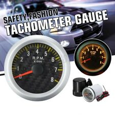 "8000RPM Rev Tacho Gauge Meter Tachometer Carbon Fiber Face Yellow LED 2"" 52mm US"