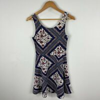 H&M Womens Dress 6 Multicoloured Floral Lattice Sleeveless Scoop Neck