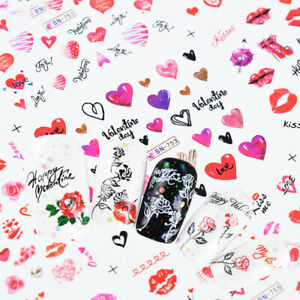 12 PCs Valentine's Day Nail Art Water Slide Transfer Decal Hearts Love Kiss