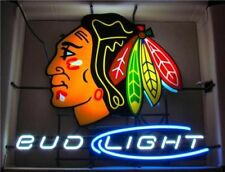 "New Bud Light Chicago Blackhawks Hockey Neon Sign 24""x20"""