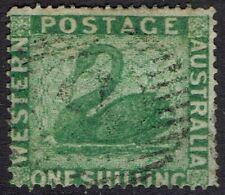 WESTERN AUSTRALIA 1861 SWAN 1/- WMK SWAN CLEAN CUT PERF 14 - 16 USED