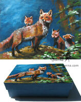 Hand bemalte Schachtel Fuchs Kunst Tier hand painted box fox family animal art