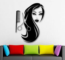 Wall Stickers Vinyl Decal Sexy Girl Long Hair Scissors Barber Comb (ig442)