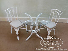 Faux Bamboo Cast Aluminum Chinese Chippendale 3 Piece Bistro Table & Chairs Set