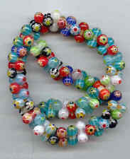 Millefiori strand of 6x12mm peanut shaped beads #LK02