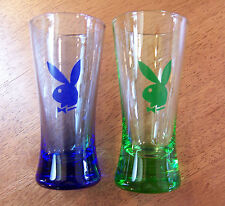 "2-pc Cobalt Blue & Green PLAYBOY BUNNY 4"" Shot Glasses *UNIQUE XMAS GIFT IDEA*"