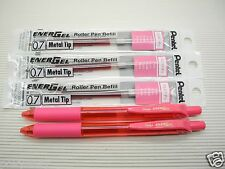 2 pens + 5 refills Pentel Ener Gel LRN7 0.7mm roller ball pen Pink (Japan)