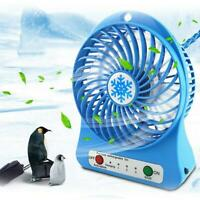 Mini 3 speed desktop snowflake small fan portable USB battery rechargeable E5N4