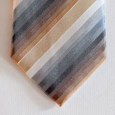 NEW Kenneth Cole Silk Neck Tie Metallic Silver, Gold, Blue & White Stripes 1651