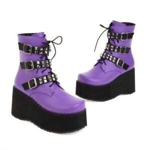 Women Ankle Boots Goth Buckle Studded Zip Creeper Platform Comfort Ankle Boots L
