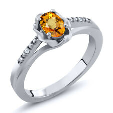 0.57 Ct Oval Yellow Sapphire White Topaz 925 Sterling Silver Ring