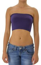 Seamless Solid Cropped Tube Top Layering Bandeau Stretchable Spandex ONE SIZE