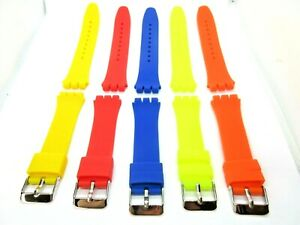 Replacement Silicone 19mm Watch Strap for Swatch Irony Chrono 5 Colours