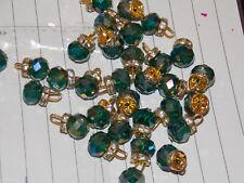 15 mm Elegante Vidrio Cristal Verde AB Gem casaca Botón Coser en Joya Diamante de Imitación