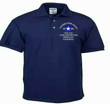 144TH FIGHTER WING*FRESNO IAP*CA*USAF ANG*EMBROIDERED LIGHTWEIGHT POLO SHIRT