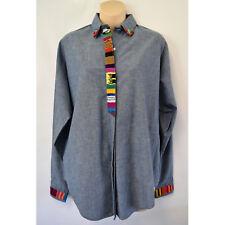 Panhandle Slim 100% Cotton Blue Shirt Sz M L USA Embellished Western Cactus Dog