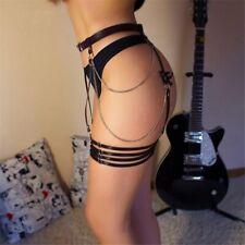 Women Leather Harness Bow-Tie Garter Belt Leg Bondage Stockings With Chain Strap