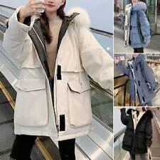 Women Winter Warm Overcoat Zip Parka Coat Long Fur Hooded Jacket Outdoor Outwear