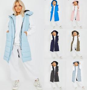 Womens Hooded Longline Jacket Puffer Padded Zipper Quilted Gilet Bodywarmer Coat