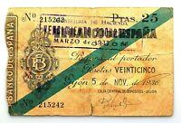 Spain-GUERRA CIVIL. Billete. 25 pesetas 1936. Banco de España. Gijón. Circulado.