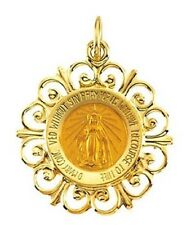 Miraculous Medal 20 x 18mm 14K Yellow Gold Small Filigree Framed Virgin Mary