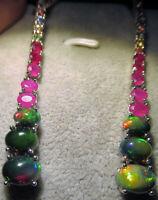 Ohrringe 7 cm., Schwarze Opale & Turmalinen,