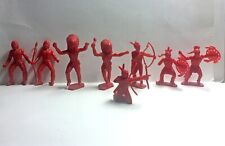 MPC Plastic Toy Indian Warriors - Red - Lot of 8 - Vintage